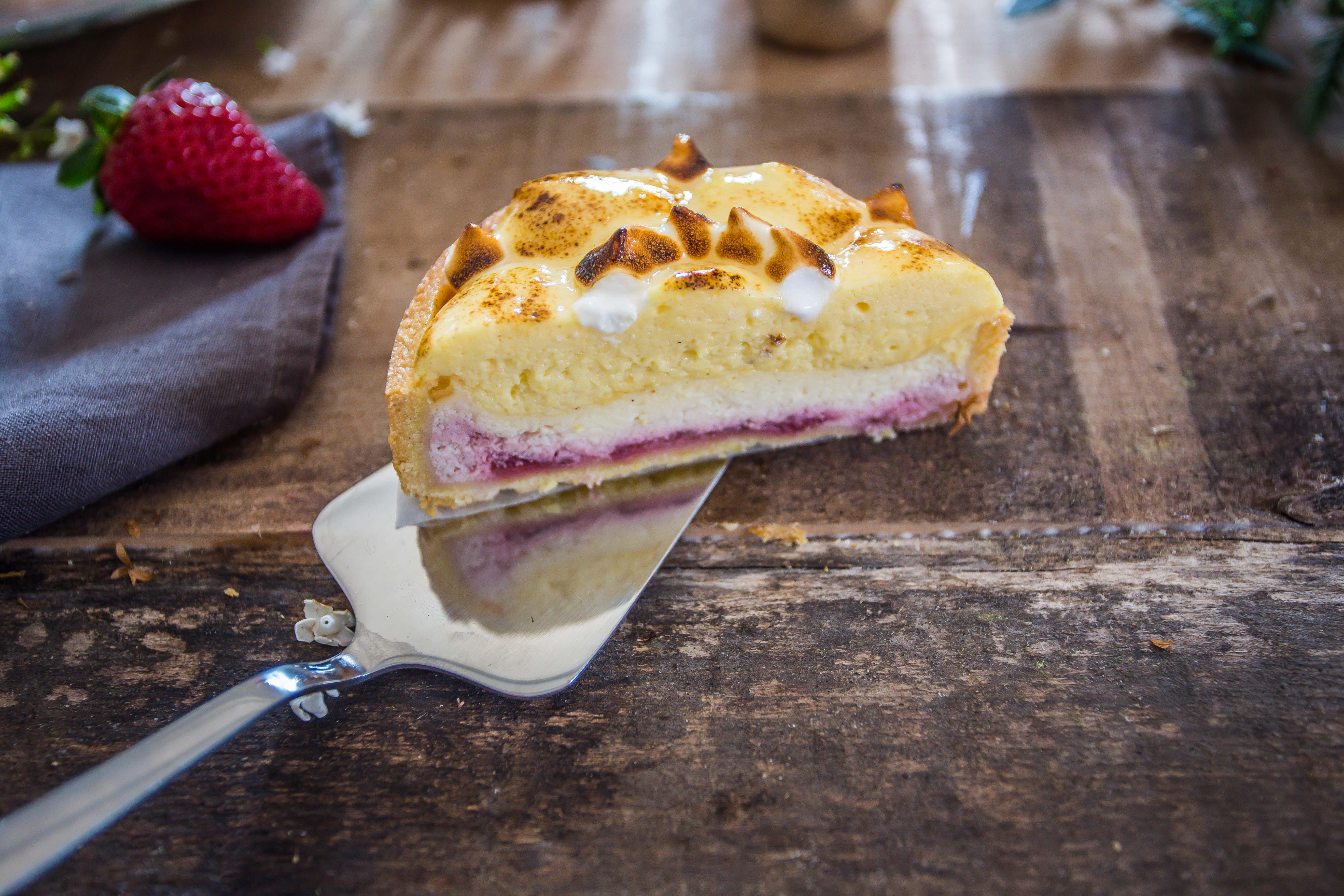 Cheesecake con chibouste e lamponi