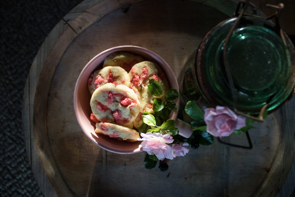 Cookies with pink candied almonds and walnuts