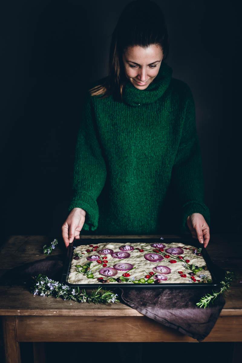 Focaccia decorata con verdure Giardino Zen