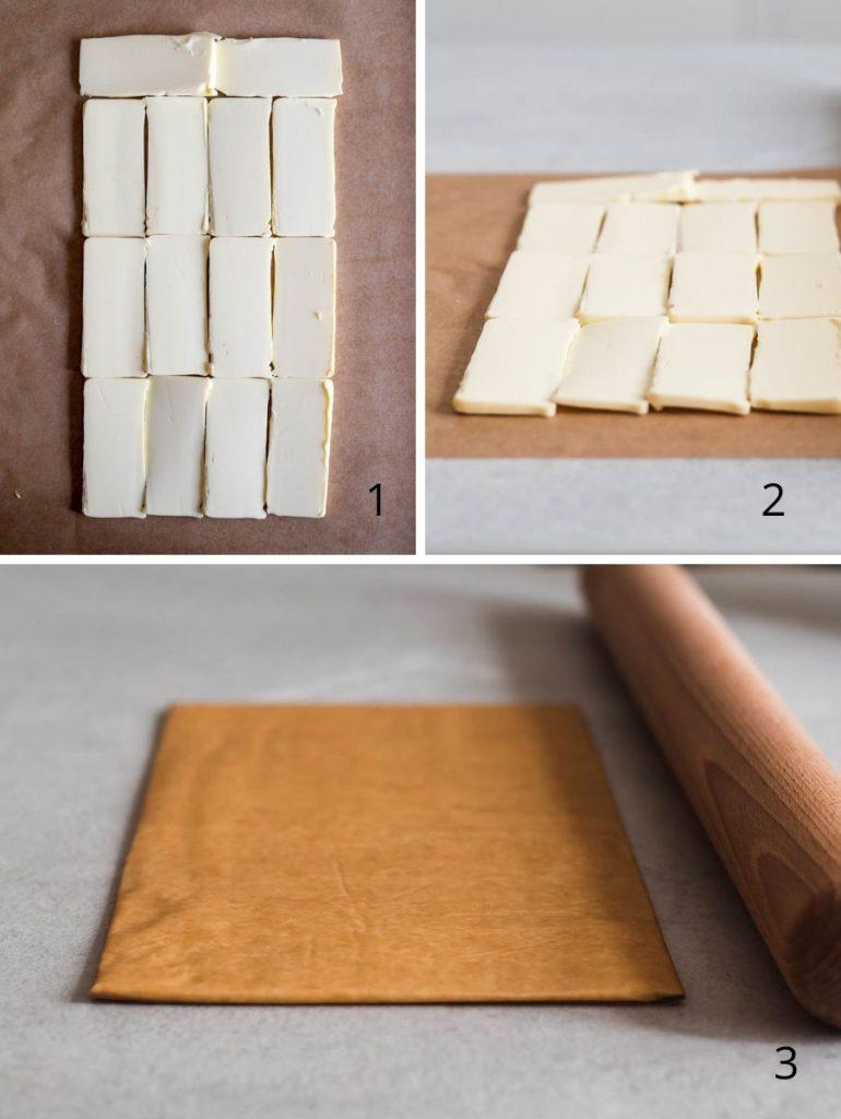 Brioche sfogliata al miele e burro salato - i passaggi illustrati della sfogliatura - Come realizzare il panetto di burro per la sfogliatura