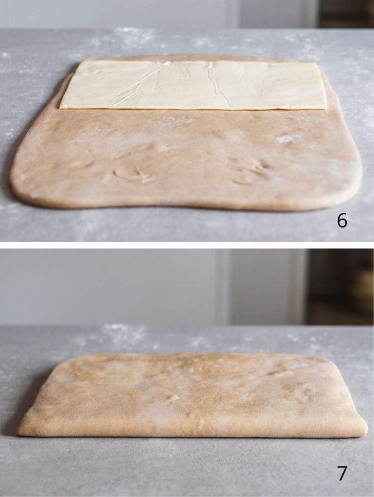 Brioche sfogliata al miele e burro salato - i passaggi illustrati della sfogliatura - Come realizzare una sfogliatura con il burro