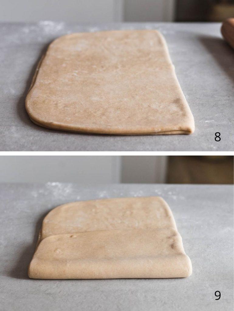 Brioche sfogliata al miele e burro salato - i passaggi illustrati della laminazione