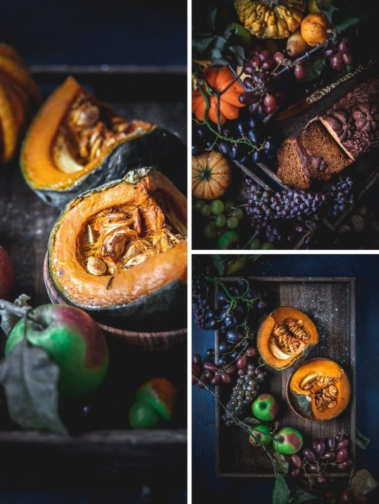 Torta alla zucca e spezie con sciroppo al lime - Food photography, beautiful food photography by Lucia Carniel - food photographer - food stylist - Autumn table setting - natura autunnale